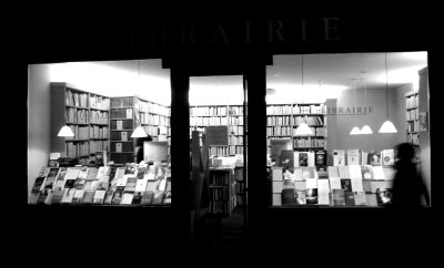 black and white, bookstore, and paris image