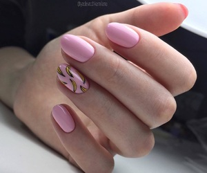 banana, nails, and pink image