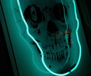blue, neon, and skull image