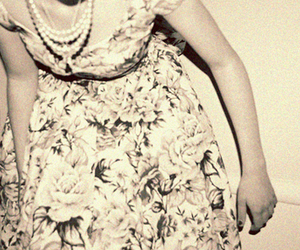 dress, pearls, and floral image