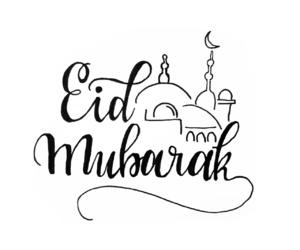 black and white, calligraphy, and eid mubarak image