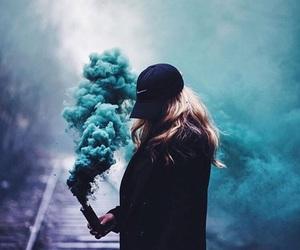 girl, blue, and smoke image