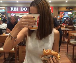 brunette, drink, and fat image
