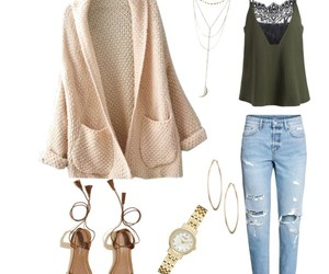 backpack, cardigan, and fashion image