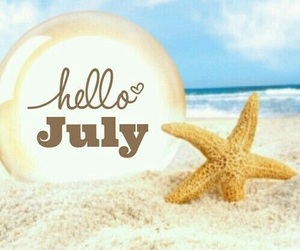 july, hello july, and beach image
