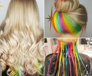 blonde, hair, and rainbow image