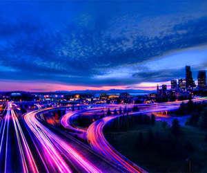 light, city, and sky image