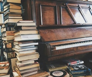 book, piano, and music image