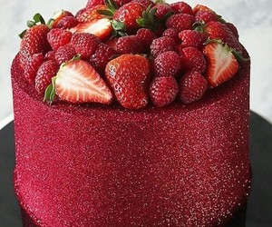 cake, food, and strawberry image