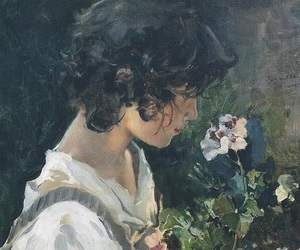art, painting, and flowers image
