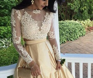 two pieces, two pieces prom dress, and long sleeves prom dresses image