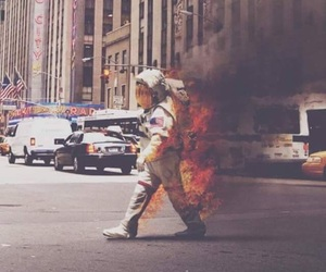 fire, astronaut, and street image