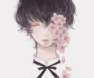flowers and anime boy image