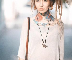 dreadlocks, dreads, and tattoo image