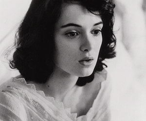winona ryder and black and white image