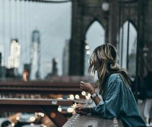 girl, city, and bridge image