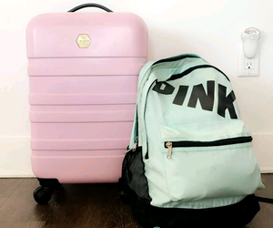 adventure, luggage, and pink image