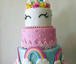 unicorn, cake, and flowers image