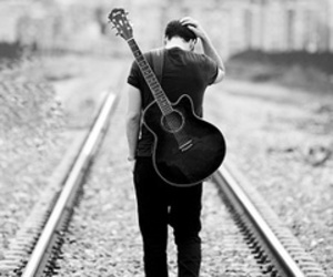 guitar, boy, and black and white image