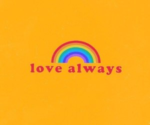love, rainbow, and yellow image