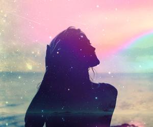 girl, galaxy, and sea image