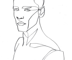 black and white, continuous, and contour drawing image