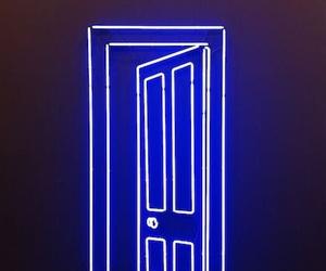 blue, neon, and door image