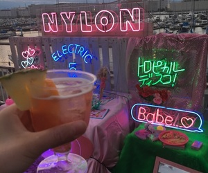 alcohol, drink, and neon image