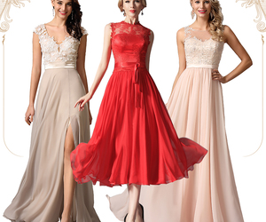 fashion, evening dress, and red dress image