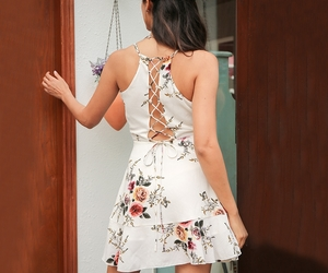 backless, floral print, and ruffles image