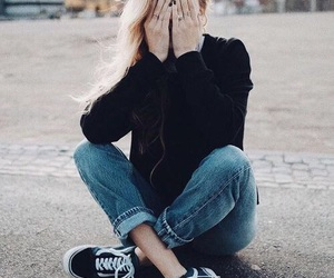 girl, vans, and black image