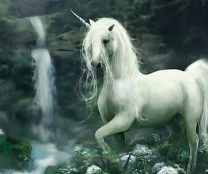 unicorn, fantasy, and waterfall image