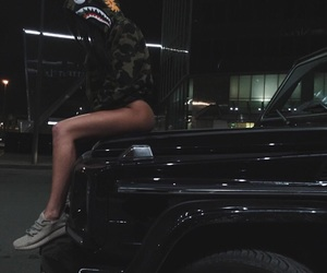 girl, black, and car image