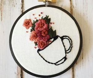 embroidery, coffee cup, and etsy image