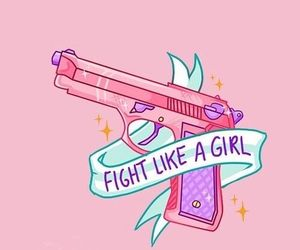 wallpaper, pink, and gun image