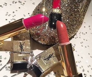 gold, lipstick, and makeup image