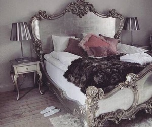 bed, home, and decoration image