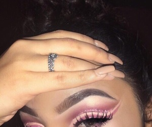 nails, brunette, and pink image