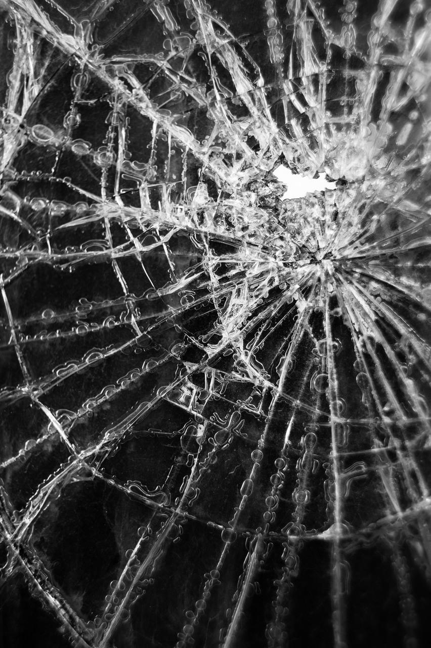 b&w, black & white, and cracked windsield image