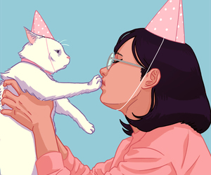 birthday, cat, and art image