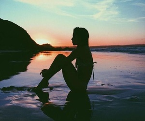 beach, girl, and sunset image