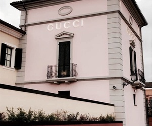 gucci, building, and pink image