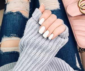 nails, fashion, and ripped jeans image