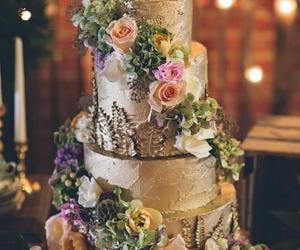 wedding, cake, and gold image