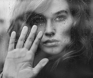 rain, black and white, and girl image