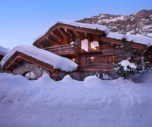 snow, winter, and chalet image