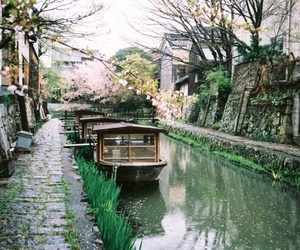 japan, boat, and flowers image
