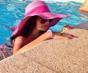 girl, pink, and pool image