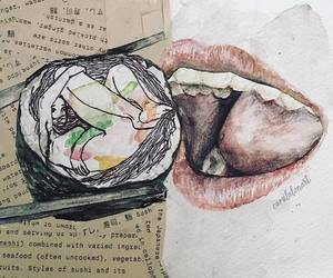 art, food, and watercolor image