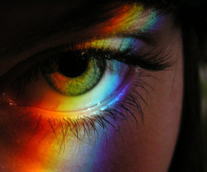 rainbow, eye, and eyes image